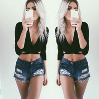 Black Deep V Neck  Crop Top