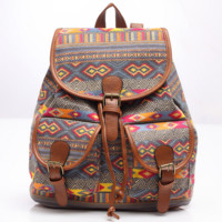 Ethnic Retro Bookbag Backpack School Bag