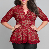 Lace Sexy V Neck Erotic Shirt Blouse Top _ 8717