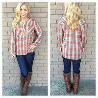 Pretty Plaid Pocket Blouse