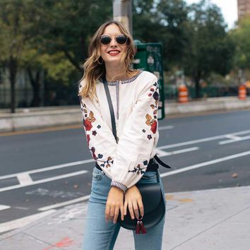 blouse shirts women floral embroidered sleeves boho chic white cotton pattern tops blusas fashion women brand clothing