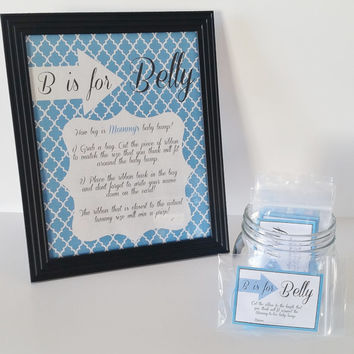Baby Shower Game, B is for Belly Game, Measure the Belly Game, Baby Boy Shower Decor, Shower Centerpiece, Boy Shower Game
