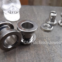 Ear Tunnels Screw Fit 0g Plugs 2g 6mm Silver Gauges Stretched Piercing Earrings 8mm Body Jewelry Earring Tunnel Plug 4g Gauge Stainless 316L | Local Piercers