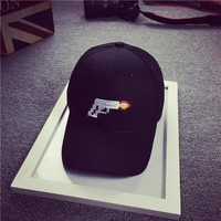 Dad Hat Cotton Black And White Casual Character Gun Embroidery Baseball Hats For Women And Men 2016 Snapback Cap Style