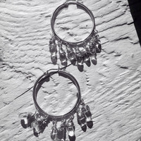 Hoop Earrings with 7 Wrapped Quartz Crystal Drops or your choice of gemstone drops
