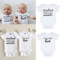 Cute Letter Print Playsuits Matching Twin Outfits Set