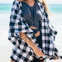 Black and White Check Kimono
