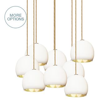 """5"""" Matte White & Brass Leaf Clay Multiple Stagger Pendant Chandelier"""
