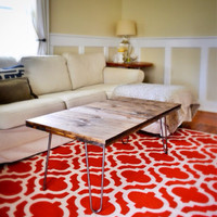 The Alexis - Pine Wood Coffee Table With Hairpin Legs