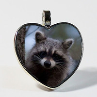 SALE ENDS Nov 23 Raccoon Pendant // Forest Creatures // Wildlife Jewelry // Silver or Gold Pendant Necklace with 18 Inch Chain  // FREE Ship