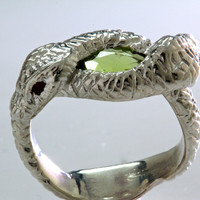Victorian Green Peridot and Rubies Double Snake Ring in sterling silver