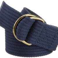 Jack Spade Men's Ribbed Webbing Belt, Navy, Medium