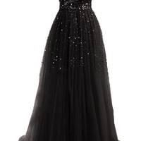Mic Dresses Sweetheart Long Women's Evening Ball Gown Party Prom Bridesmaid Dress (US 2, Black)