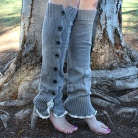 SALE! Lace and Button Leg Warmers Knit Boot Socks Heather Gray Off One size