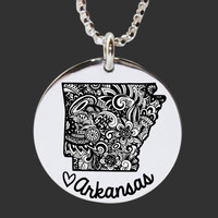 Arkansas | State Necklace | State Gifts | Bridesmaid Gifts | Friend Gift | Daughter Gift | Korena Loves | KLSM