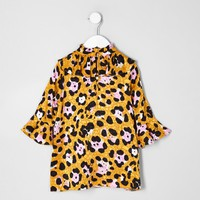 Mini girls brown leopard print trapeze dress