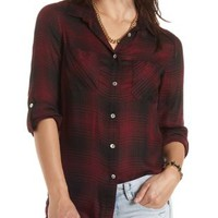 Plaid Button-Up Tunic Top by Charlotte Russe - Wine Combo