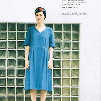 Comfortable & Simple Dress, Tomomi Okawa, Japanese Sewing Pattern Book for Women Stylish Clothing, Easy Sewing Pants, Pullover, Tunic, B1456