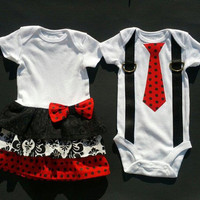 Boy Girl Twin Matching Outfits/Sibling  Red Black by TheTwinShop