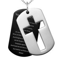 Mens stainless steel double dog tag necklace