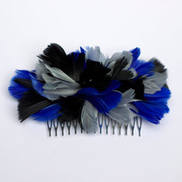 Grey, black and electric blue comb Fascinator made with Feathers