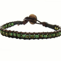 Turquoise Green Leather Bracelet Mens Womens Rustic Western Southwestern Hipster