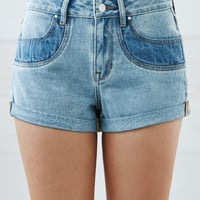 Bullhead Denim Co. Ashley Contrast High Rise Cuffed Denim Shorts at PacSun.com