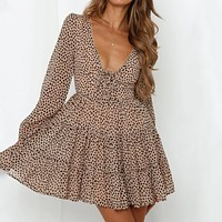 Sexy Leopard V Neck Dresses Women Long Sleeve A Line Ruffles Sundress Chiffon Short Party Dress Female