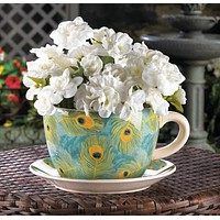 Peacock Feather Teacup Planter