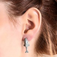 Claire's Women's Shark Front And Back Stud Earrings In Grey
