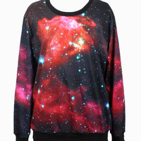 Red Galaxy Printed Sweatshirt