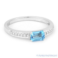 0.79 ct Baguette Cut Blue Topaz Gemstone & Diamond 14k White Gold Promise Ring