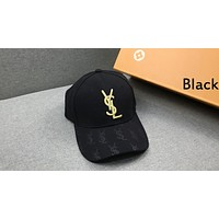 YSL street fashion men and women embroidered letters fashion casual cap baseball cap black
