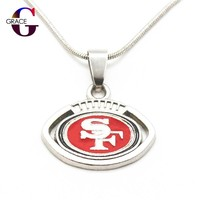 10pcs San Francisco 49ers Charms Football Team sports Pendant necklace with snake chain(45+5cm) necklace For Women DIY Jewelry