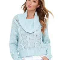 Light Blue Knitted Cowl Neck Sweater