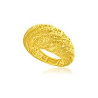 Mesh Twist Textured Dome Ring in 14K Yellow Gold