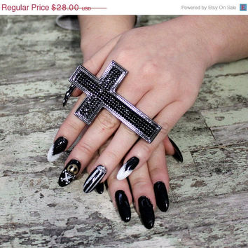 Cross ring, triple finger cross ring, Mother's Day gypsy cowgirl glam jewelry, crystal cross, statement ring, funky,
