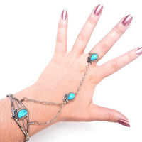 Sterling Silver Turquoise Connected Ring & by MaejeanVINTAGE