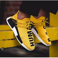 Pharrell Williams x Adidas Consortium NMD Human Race Yellow Sport Running Shoes Classic Casual Shoes Sneakers