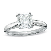 1-1/2 CT. Certified Cushion-Cut Diamond Engagement Ring in 14K White Gold (I-J/I1) - View All Rings - Zales