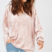 Blush Velvet Sleeve Top