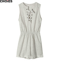 Women Light Gray Front Lace Up Sleeveelss Roll Up Hem Casual Romper Playsuit 2016 New Summer Fashion Cotton Jumpsuit Beach Wear