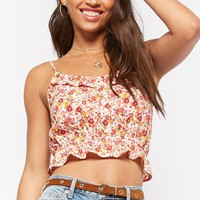 Ruffled Floral Crop Cami