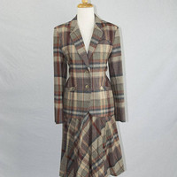 Vintage Wool Plaid Suit Jacket & Skirt Campus Casuals 1980s