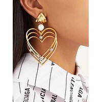 BALENCIAGA Fashion Women Delicate Pearl Heart Pendant Earrings Accessories Jewelry