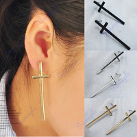 1 Pair Hot Fashion Vintage Punk Style Cute The Cross Ear Stud Earrings 3 Colors