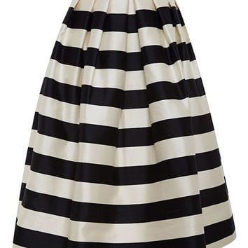 Striped Silk-Satin Midi Skirt