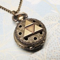 Bronze Triangle Watch Necklace, inspired by Legend of Zelda Triforce