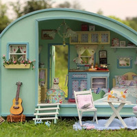 Miniature Dollhouse  DIY Kit Trailer with Voice Control Light and Music Box Cute Room House Model Time Travel