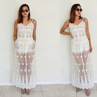 Vintage SMALL white lace see through wedding party cocktail maxi gown pocket dress